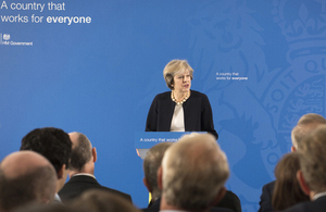 Prime Minister Theresa May speaking about Britain, the great meritocracy