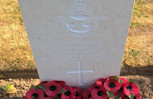 Sergeant Pulman's headstone, Crown Copyright, All rights reserved