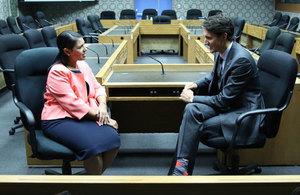 Priti Patel meets Justin Trudeau in Canada