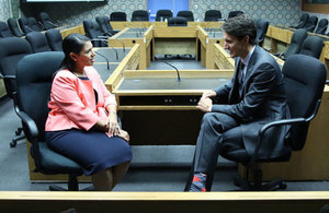 Priti Patel and Justin Trudeau