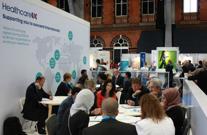Delegates having meetings at the Healthcare UK stand