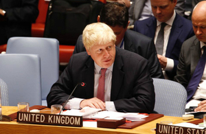 Picture of Foreign Secretary Boris Johnson at an UNGA meeting