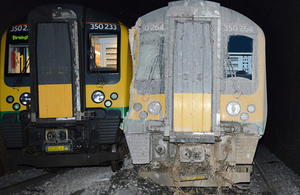Trains involved in accident, derailed train on the right (image courtesy of BTP)