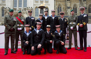 Personnel from HMS Bulwark who won the Best Unit Award at the 2015 Millies.