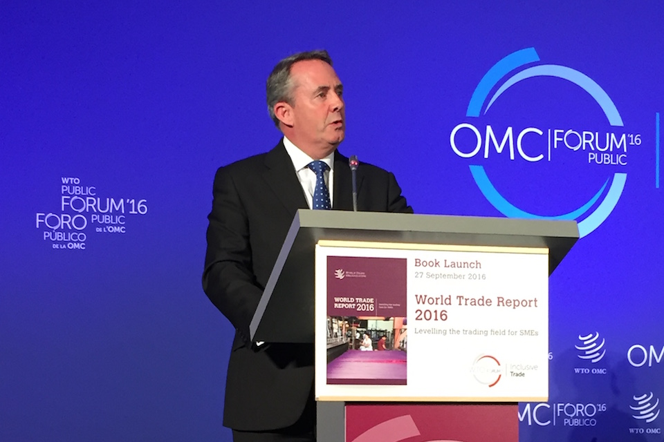Liam Fox MP speaking at the World Trade Organisation