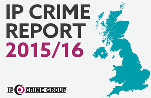 The words IP Crime report plus a UK map