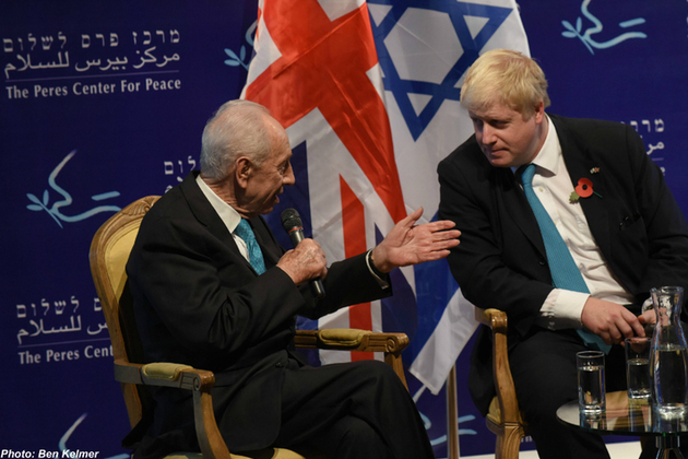 Foreign Secretary Boris Johnson and Shimon Peres