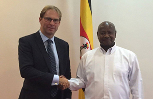 Minister for the Middle East and Africa, Mr Tobias Ellwood MP with HE President Yoweri Museveni