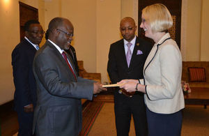 British High Commissioner, Sarah Cooke presenting her Credentials to H.E. President of United Republic of Tanzania, Dr. John Pombe Magufuli