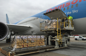 UK aid being loaded onto Thomson Dreamliner at Gatwick Airport. Picture: Russell Watkins/DFID