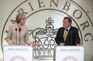 Prime Minister Theresa May giving a statement alongside Danish Prime Minister Lars Løkke Rasmussen in Copenhagen.
