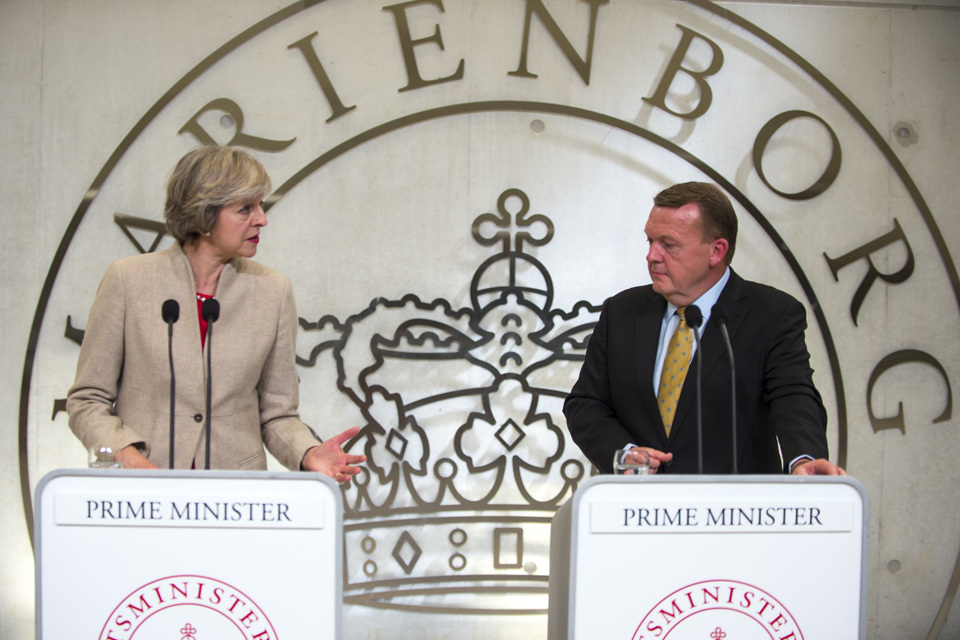 PM Theresa May and Danish PM Lars Loekke Rasmussen