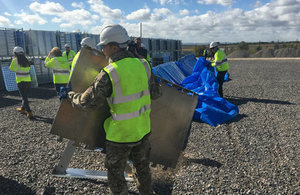 Environment Agency construct temporary flood defences in test exercise