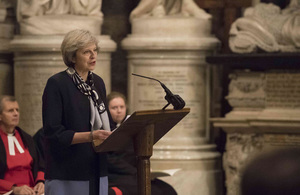 Prime Minister Theresa May speaking at the anti-slavery service at Westminster Abbey.