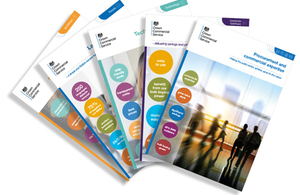 A fan display of front cover of a range of CCS brochures