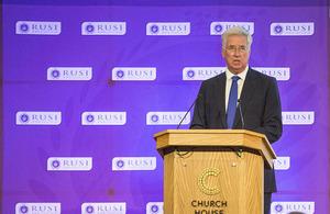 Defence Secretary Michael Fallon spoke at the second RUSI Cyber Symposium. Crown Copyright.