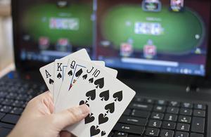 Gambling game on screen