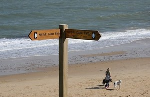 Signpost on stretch of Norfolk coast path