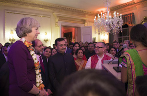Prime Minister Theresa May with guests at her Diwali reception in 10 Downing Street.