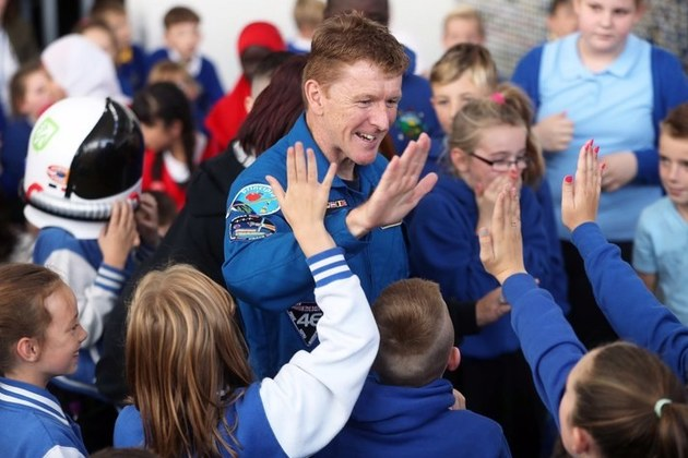 British ESA astronaut Tim Peake meeting young people in Cardiff.