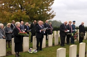 Family members and UK and French military representatives pay their respects, Crown Cropyright, All rights reserved