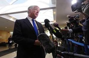 Defence Secretary Michael Fallon speaks to the press ahead of NATO's meeting of Defence Ministers, 26 October.