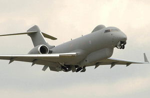 A Sentinel Airborne Stand Off Radar (ASTOR) Aircraft from No. 5 (AC) Squadron, RAF Waddington. Pictured here preparing to land, to be displayed as part of the static aircraft park at Waddington Air show 2006.