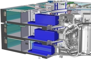 Cut-away image of the ITER machine showing the casks at the three levels of the tokamak building (credit: ITER Organization)
