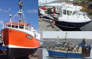 Composite photograph showing fishing vessels Harvester, Annie T and Apollo