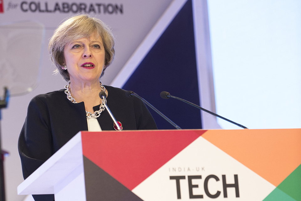 Prime Minister Theresa May speaking at the India-UK Tech Summit