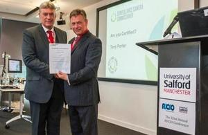 Surveillance Camera Commissioner issuing certificate to Salford University