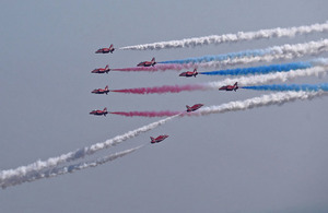 RAF Red Arrows perform spectacular finale to Chinese visit
