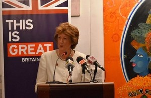 Baroness Joyce Anelay speaking in Colombo