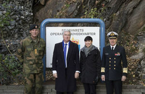 Defence Secretary Sir Michael Fallon with his Norwegian counterpart, Ine Marie Eriksen Søreide, outside Norway's Joint Headquarters, Bodø. Credit: Norwegian Armed Forces