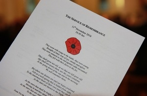 Remembrance Day Service programme