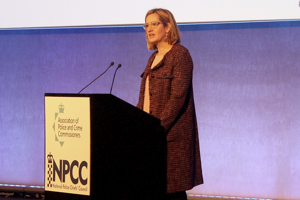 Amber Rudd speaking at APPC and NPCC Partnership Summit