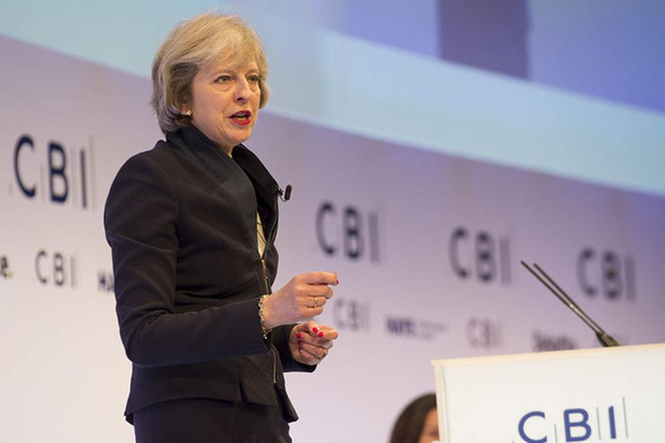 PM Theresa May speaking at the CBI annual conference