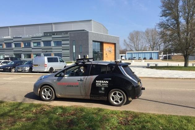 Autonomous car outside the RACE building
