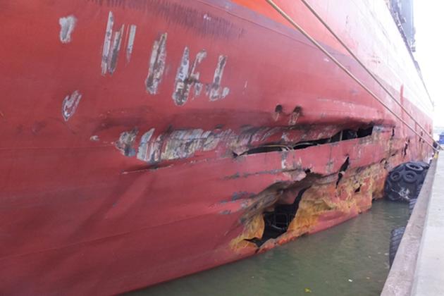 Damage to hull of Saga Sky (photo MAIB)