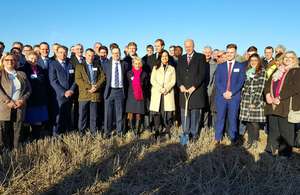 Transport Secretary Chris Grayling with Highways England CEO Jim O'Sullivan HE staff and local partners mark A14 start of construction