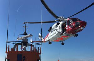 Coastguard rescue helicopter.