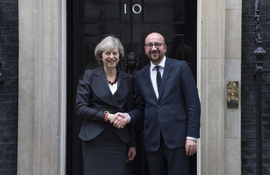 Picture of PM Theresa May and PM Charles Michel in front of Downing Street 10