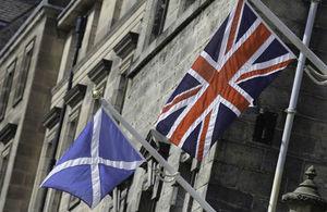 Union flag and Scottish saltire.