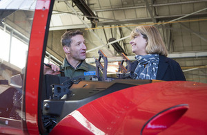 Reto Obrist, Test Pilot, Pilatus Aircraft and Minister Harriett Baldwin.