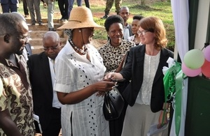 The First Lady and Minister of Education and Sports Hon. Janet Museveni and the Head of DFID Uganda Jennie Barugh after the official opening of a new girls' dormitory at Pioneer High School.
