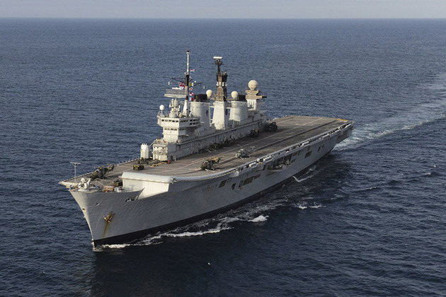 The Former HMS Illustrious has left Portsmouth to make way for her successor HMS Queen Elizabeth.