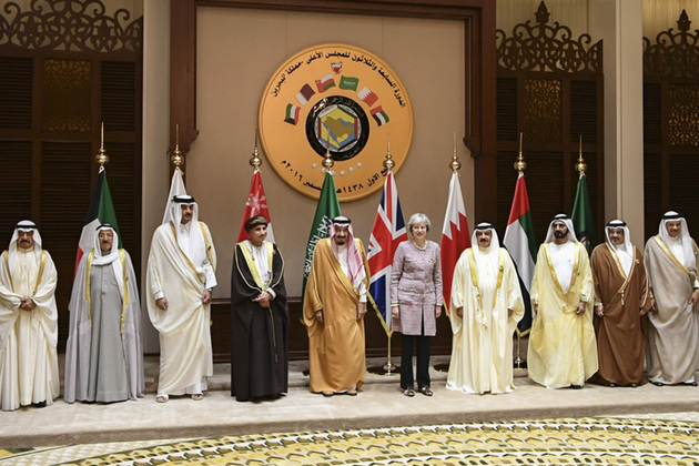 Prime Minister Theresa May with Gulf state leaders at the Gulf Co-operation Council