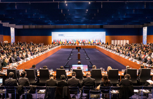 The Plenary session at the 23rd OSCE Ministerial Council, Hamburg, Germany