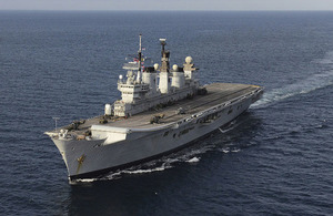 The former HMS Illustrious has departed Portsmouth to make way for her successor HMS Queen Elizabeth.