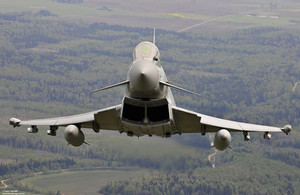 A Royal Air Force Typhoon FGR4 in flight over Lithuania